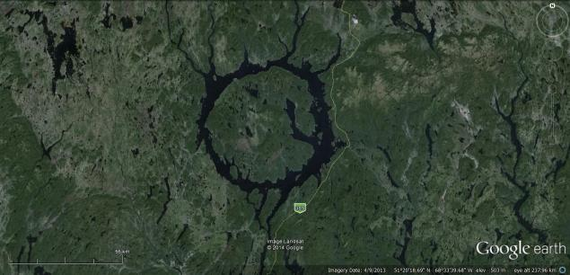 Manicouagan crater google earth