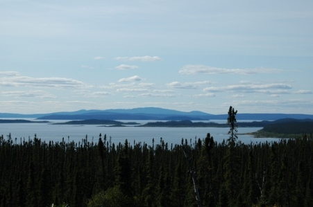 Manicouagan seen from East from the road from Google Earth