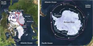 north and south pole
